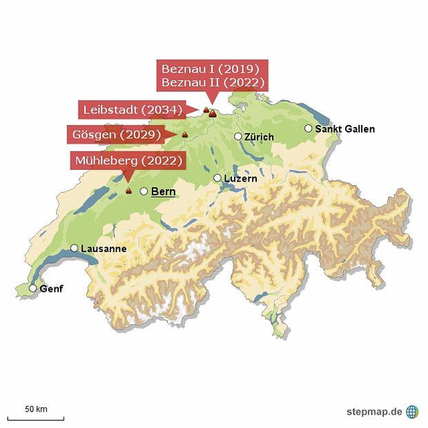 Szwajcarskie elektrownie atomowe, których zamknięcie miałoby nastąpić w wyniku referendum