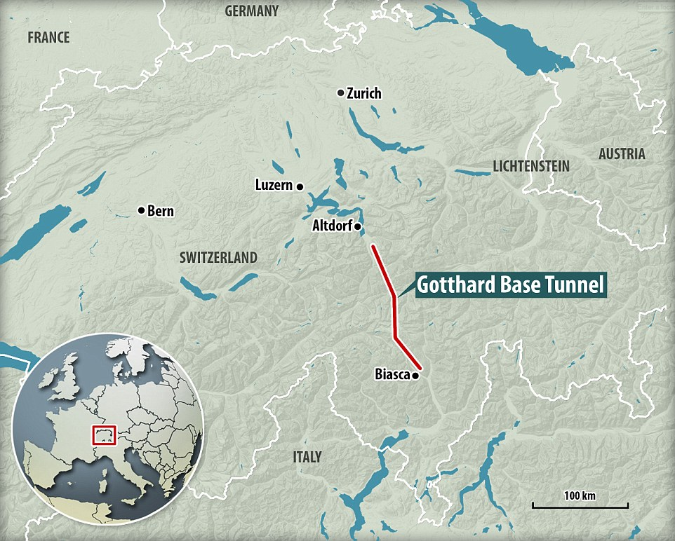 Mapa tunelu św. Gottharda